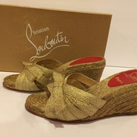 Christian Louboutin Tiburon Sandals Wedge Espadrilles Slides Gold 36/ 6 In Box