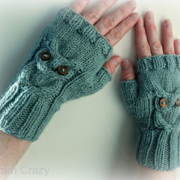 Owl Fingerless Mittens // Cable Knit Fingerless Gloves // CHOOSE YOUR COLOR // Fall Fashion Accessories