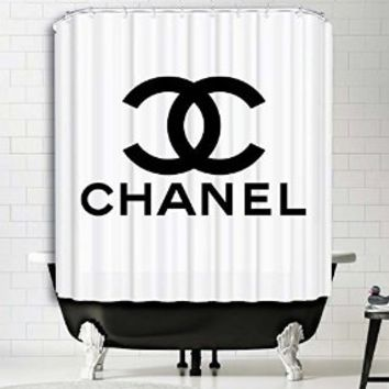 "Chanel Shower Curtain Print Polyester High Quality Digital Print Fabric Art Painting Design Home Decor Bathroom (60"" x 72"")"