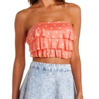 Triple Ruffle Printed Tube Top by Charlotte Russe