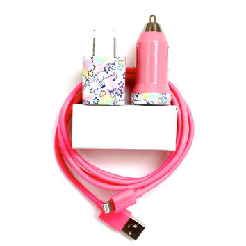 Unicorns are Real iPhone Charger includes cord/cable, portable wall USB charger & mobile USB car charger for iPhone 6 6s | iPhone 5 5s 5c