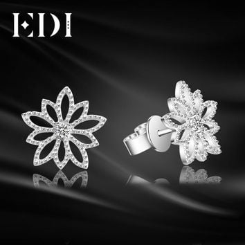 EDI Genuine Natural 0.06cttw Diamond Real 18k White Gold Stud Earrings For Women Wedding Fine Jewelry