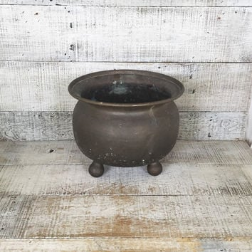 Brass Planter Large Hammered Brass Cauldron Ex-Large Plant Pot Garden Container Hollywood Regency Decor Outdoor Planter Mid Century Planter