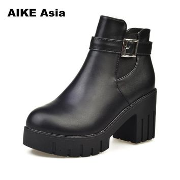 Women Boots Square Heel Platforms Leather Thigh High Pump Boots Shoes Woman botas ug australia mujer Female Winter Boots #A-518