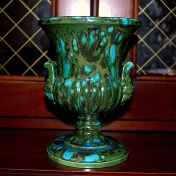 sale Bern Czech vintage turquoise multicolor vase by capecodgypsy