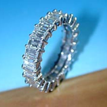 6.05ct Emerald Cut Diamond Eternity Wedding Ring 18kt white gold JEWELFORME BLUE