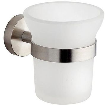 BA Tecnohotel Wall Frosted Glass Toothbrush Toothpaste Holder Tumbler Bathroom