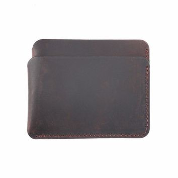 New Arrivals Credit ID Card Holder Vintage Design Coffee Crazy Horse Leather Customized Business Men Women Wallet Free Shipping