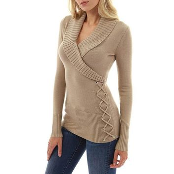 V-neck Wrapped Solid Long Women Slim Long Sweater