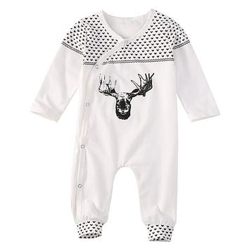 Baby Girls Boys Clothing Cute Deer Cotton Long Sleeve Baby Clothes Pajamas 2017 New Hot Infant Bebes Costumes Baby Rompers 0-18M