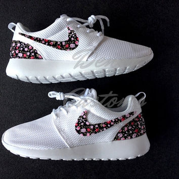 Nike Roshe Run One White Custom Black Pink Floral Print