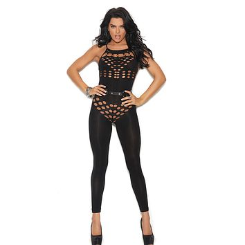 Plus Size Opaque Halter Bodystocking