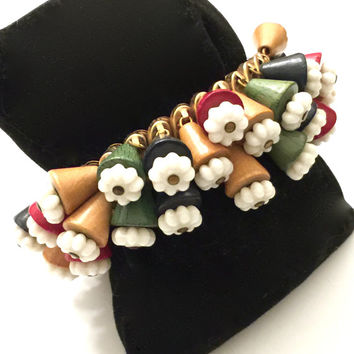 Cha Cha Expansion Bracelet, Wooden Bells, White Milk Glass Bead Flowers, Fun Funky Design, 1940s