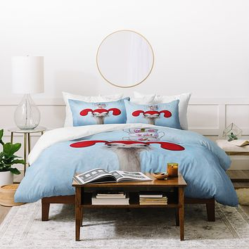 Coco de Paris Funny ostrich with stacking teacups Duvet Cover