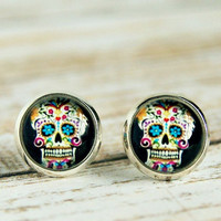 sweet sugar skulls post earrings, stud, silver plated, dia de los muertos, colorful, day of the dead