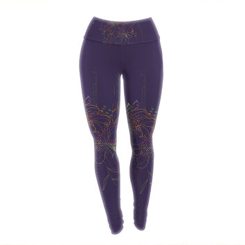 "Karina Edde ""Hibiscus"" Purple Abstract Yoga Leggings"