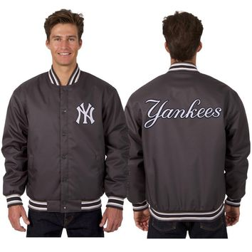 New York Yankees Poly Twill Jacket - Charcoal