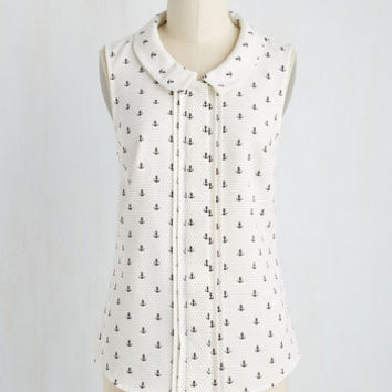 Profesh of Both Worlds Top in Ivory Anchors | Mod Retro Vintage Short Sleeve Shirts | ModCloth.com
