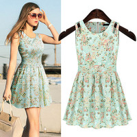 Sleeveless Floral Pleated Dress