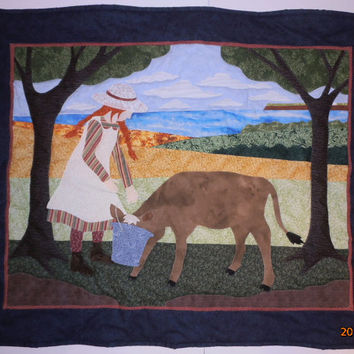 Anne of Green Gables Wall Hanging, Quilted Wall Hanging, Wall Art, Anne With Calf, Appliqued Quilt, Cow Quilt