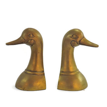 Vintage Brass Duck Bookends Brass Animals