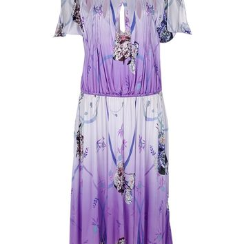 Blumarine Oriental Print Pleated Dress