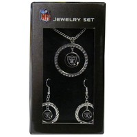 NFL - Oakland Raiders Rhinestone Hoop Jewelry Set