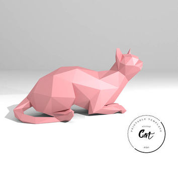 Printable DIY template (PDF).  Sitting Cat low poly paper model. 3D paper trophy. Origami.