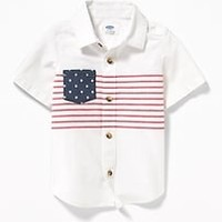 Flag-Print Built-In Flex Shirt for Toddler Boys|old-navy