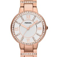 Women's Fossil 'Virginia' Crystal Accent Bracelet Watch, 30mm - Rose Gold