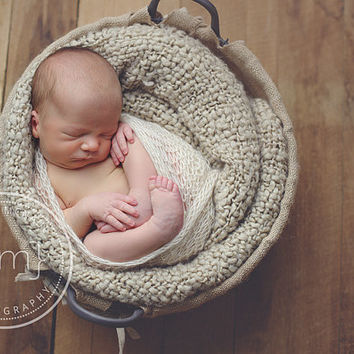 Cream White Newborn Photography Prop, Knit Baby Wrap, Lacy mohair Wrap, Baby mini blanket, Photo Prop
