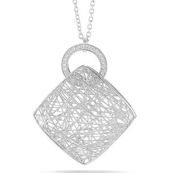 Woven Yellow of White Gold 2-Sided Diamond Necklace by I. Reiss