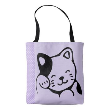 Cute Black and White Kitty Cat Waving Hello Tote Bag