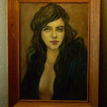 Pretty lady portrait oil painting signed