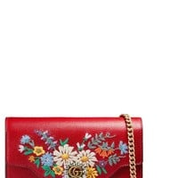 Gucci Embroidered Floral Leather Wallet on a Chain | Nordstrom