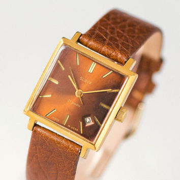 Square unisex watch, gold plated watch Glory, very rare face gent's watch Glory,  boyfriend watch, burgundy watch, premium leather strap new