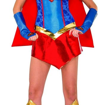 Secret Wishes Women's DC Comics Deluxe Supergirl Costume with Boot Covers