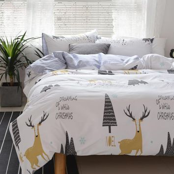 Deer Print Sheet & Pillowcase Duvet Cover Sets