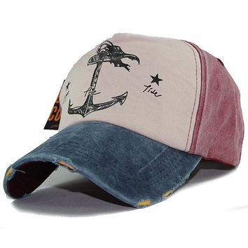 Tear Ripped Baseball Caps Anchor Pattern Printed Snapback Hats Cotton Vintage Pirate Ship Hats For Men Women Sunscreen Cap