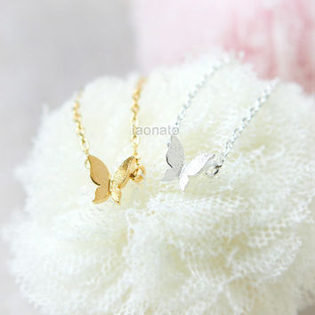 Tiny Butterfly Necklace / choose your color / gold and silver