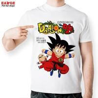 Cool Dragon Ball Z Tshirt Budokai T-shirt Kid Son Goku And Kuririn T Shirt Cool Printed Style Fashion Anime Boys Men Tee Shirts