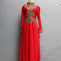 Royal Red Marocain Caftan Gold Embroidery Maxi Dress, Great for Wedding Bridesmaid Party Summer Kaftan Dress, Sof Jersey Kaftan Dress