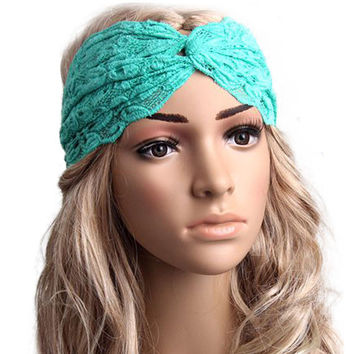 Feminine Lacey Turquoise  Wrap Hair Band for Yoga, Workouts, or just Pretty!