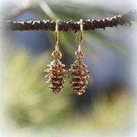 Pinecone Earrings - Gold Pine Cones . Christmas Jewelry . Holidays . Winter Fashion . Conifers . Pine Trees