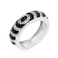 Black Ripple Ring, size : 10
