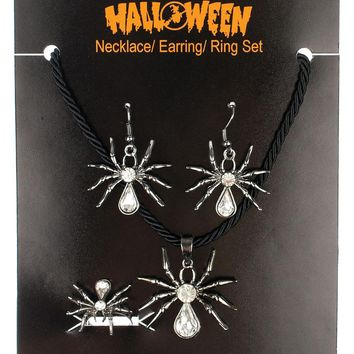 Necklace Ring Earring Set Spiders Props for Halloween