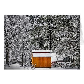 Little Red Shed in the Snow Merry Christmas Card