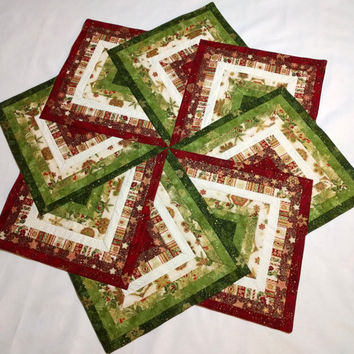 Stunning Quilted Decor, Wall Hanging and Table Topper in Reds, Greens, Gold Metallic, Modern Christmas Quilt, Wedding Gift, Quiltsy Handmade