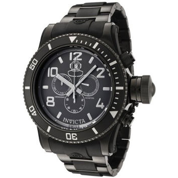 Invicta 0401 Men's Russian Diver Collection Chronograph Black Ion-Plated Stainless Steel Watch