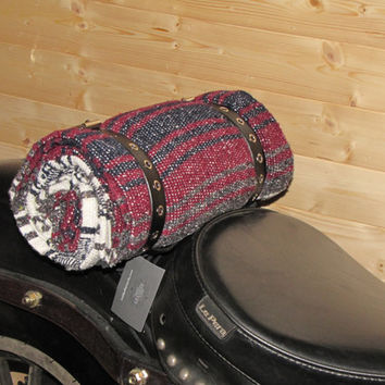 Black, Maroon, White Blanket Roll with black leather eyelet straps for camping, motorcycles, decoration, horse riding, and more